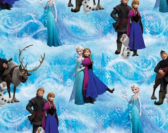 SALE !!! Frozen Characters Blue cotton 1 Yard listing