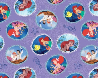 Little Mermaid Character Bubbles Purple Cotton Woven, Springs Creative