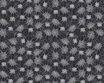 Haunted House Spider Webs on Black Cotton Woven