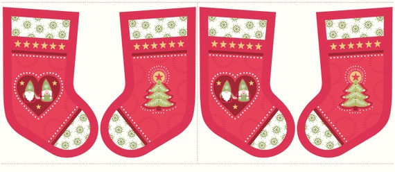 Lewis /& Irene Traditional Countryside Winter Christmas Stocking Fabric Panels