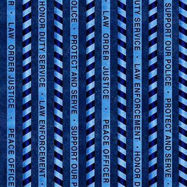 Quilting Treasures - Protect and Serve, Stripe Blue Cotton Woven