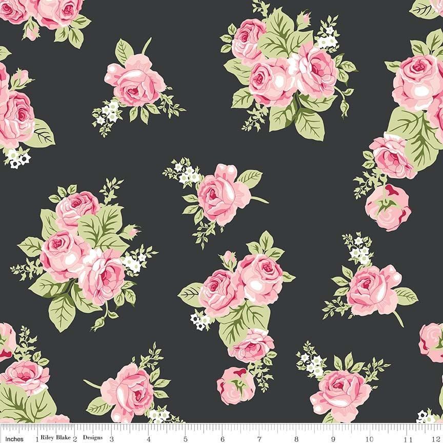81d4d2509ff RIley Blake Designs - Love Story Charcoal Cotton Spandex Knit fabric.  gallery photo