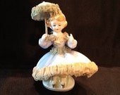 Vintage Dresden Style Lady Figurine Porcelain with Lace Dress 1940 39 s Excellent Condition FREE SHIPPING