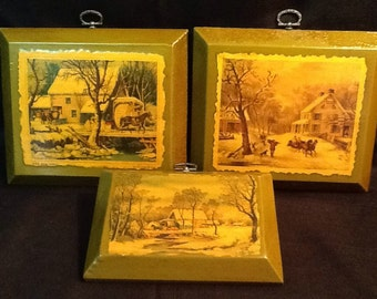 Vintage Currier & Ives Prints <> Set of Three <> Green Decoupage Wooden Plaques <> Winter Scenes 1800's <> 1970's <> EXCELLENT CONDITION