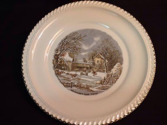 Vintage Harkerware Currier & Ives Dinner Plate The