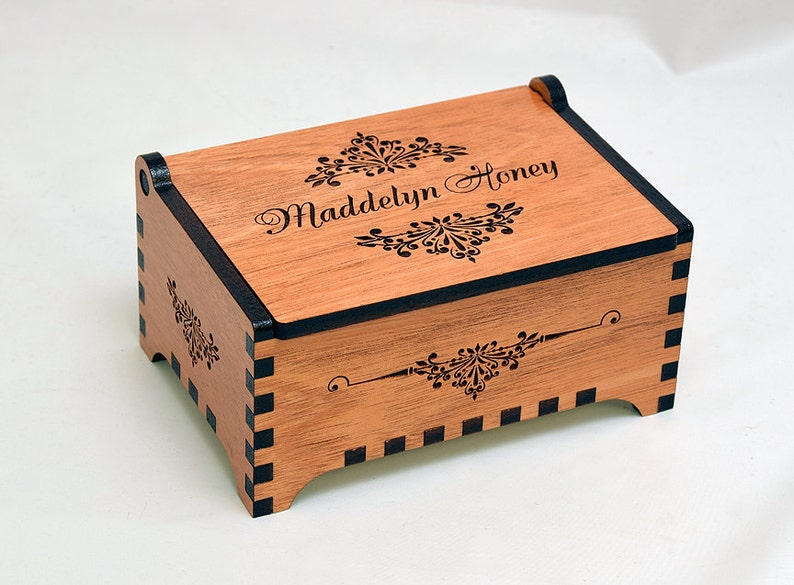 Custom Wooden Jewelry Box Floral Design Laser Cut And Engraved