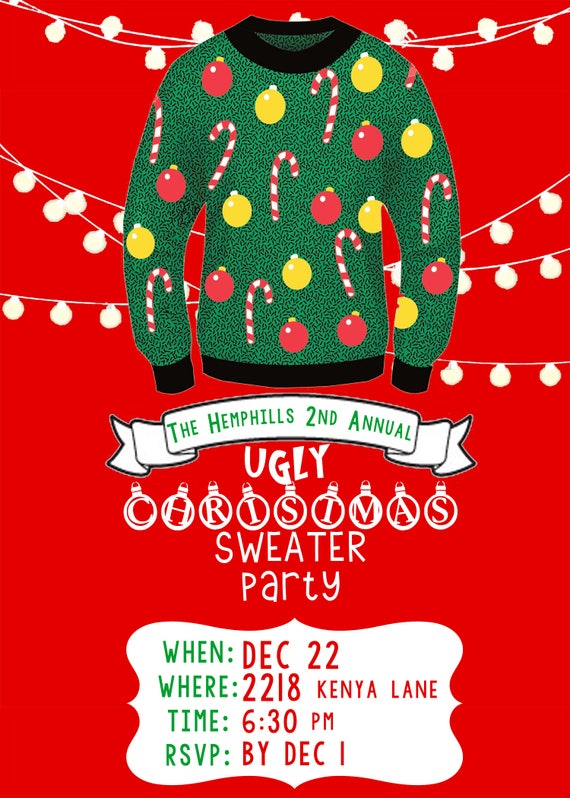 Ugly Christmas Sweater Party Invite.Ugly Christmas Sweater Party Invitation Design Download File Only