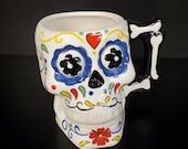 Three-Dimensional Ceramic Sugar Skull Day of the Dead Mug in Fiesta Colors
