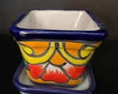 Authentic Talavera Mini Plant Pot and Saucer Set