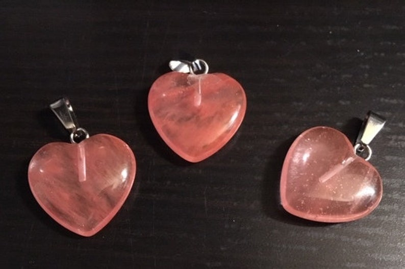 Cherry Quartz Heart Pendant with Bail