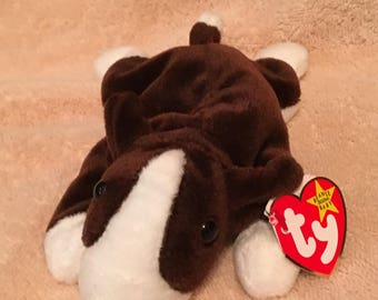 95073ec3db0 TY Beanie Baby - BRUNO the Bull Terrier Dog - Pristine with Mint Tags - PVC  Pellets - Retired