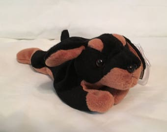 f56327d8378 TY Beanie Baby - DOBY the Doberman Dog - Pristine with Mint Tags - PVC  Pellets - Retired