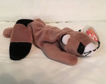 TY Beanie Baby - RINGO the Raccoon - Pristine with Mint Tags - PVC Pellets - Retired