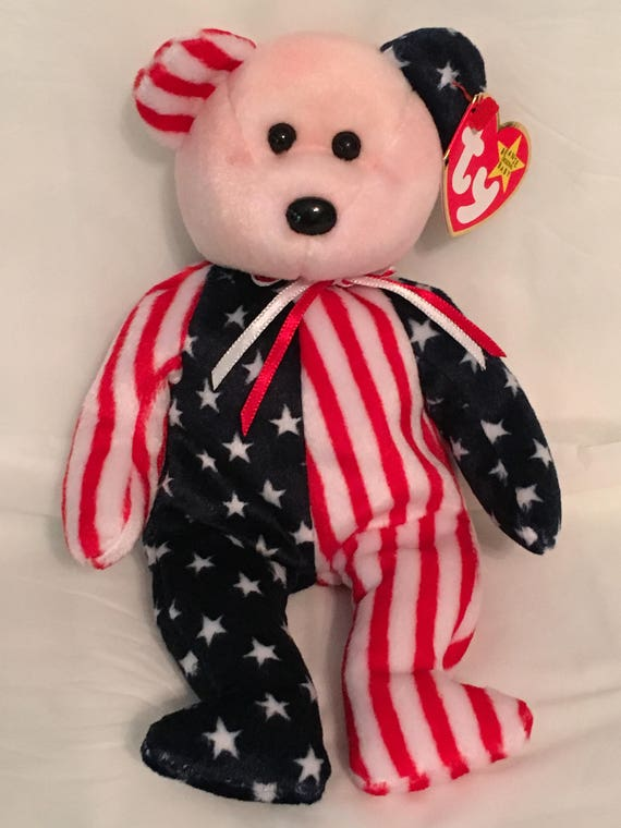 af6d1537a98 TY Beanie Baby SPANGLE Red Face Patriotic Bear-Pristine w