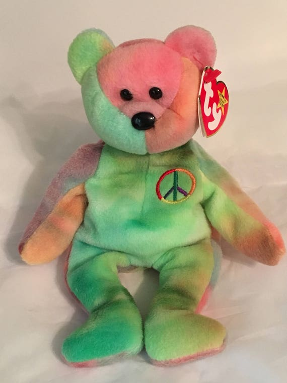 60321e03b16 TY Beanie Baby PEACE the Multi Colored Bear Pristine with