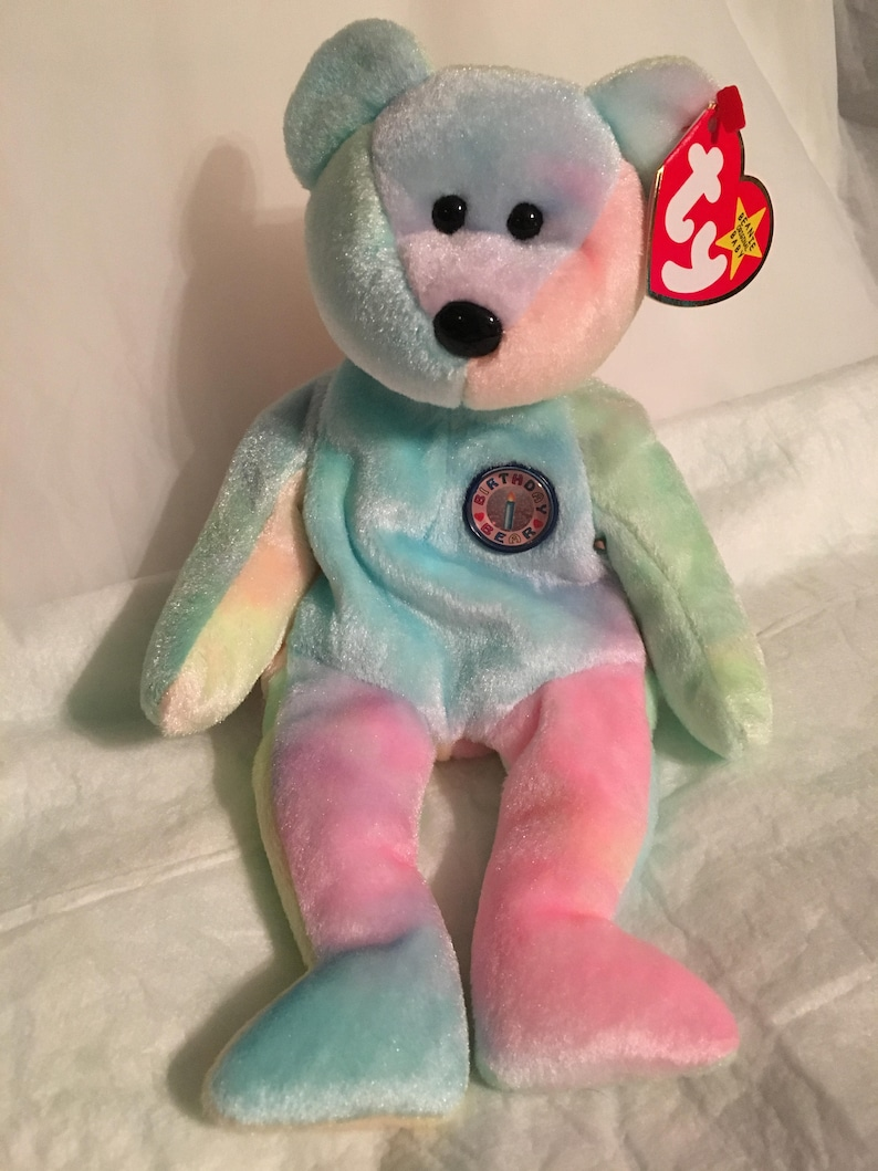 TY Beanie Baby BB BEAR the Happy Birthday Bear Pristine w   5c428daf7d0
