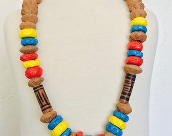 Handmade Terracotta Red Blue Yellow Heavy Clay Boho Estate Necklace Leather Cord