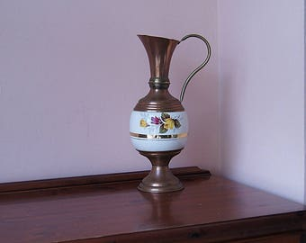 Vintage copper vase, the vintage copper pitcher with the ceramics decor.