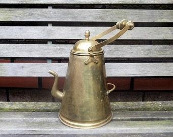 Vintage brass kettle, antique brass teapot, antique kettle, antique brass pot.