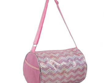 Dance Cheer Gymnastics Girls Sequin Chevron Tote Duffel Duffle Bag a3a9e0640dd3f
