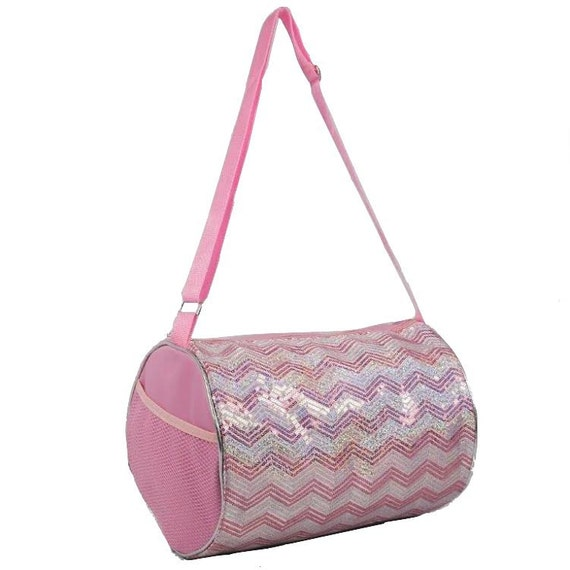 Dance Cheer Gymnastics Girls Sequin Chevron Tote Duffel Duffle  27daafff78213