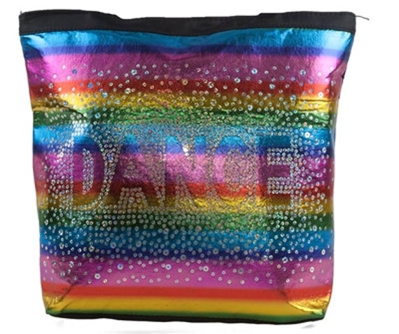 Gymnastics Ballet Colorful Rainbow Shimmer Dance Tote Bag Holographic Sequin NEW