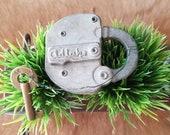 Antique ADLAKE Rail Road Steel Lock Lock with Early Slaymaker Brass Key Antique Lock Railroad Switch Lock Collectible Lock JewelsandMetals