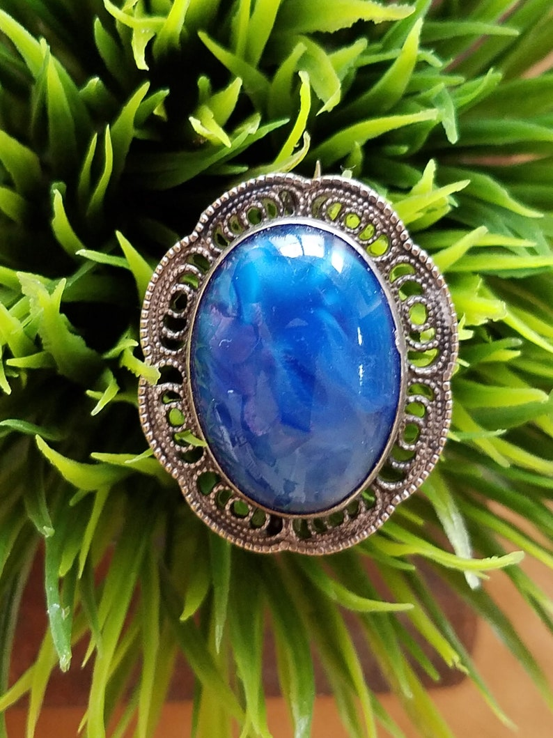 Antique Brooch Sterling Silver 925~Art Nouveau Pin~Sterling Filigree Setting~Blue Glass Cabochon~Antique Jewelry~JewelsandMetals