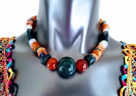 Fire Agate Gypsy Jewelry- Witchy Necklace Bohemian Jewelry Hippie Jewelry Natural Stone Necklace Stone Necklace