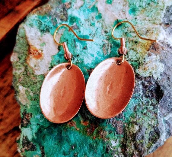 Tribal embossed copper earrings Navajo copper earrings