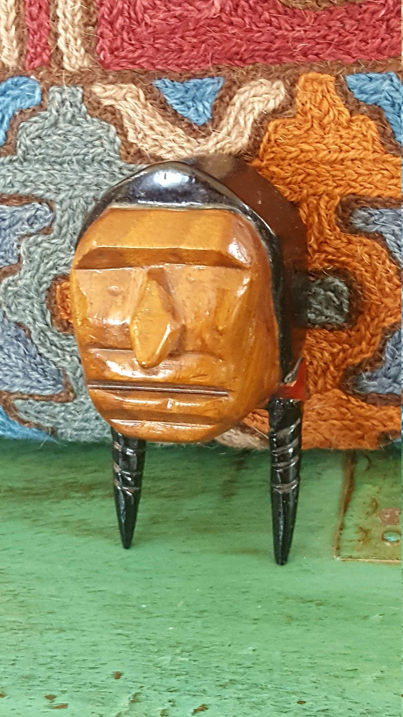 Hand Carved Wood Indian Head Bust Statuesigned Native American Carving 1970svintage Carvingindian Warrior W Braidsjewelsandmetals
