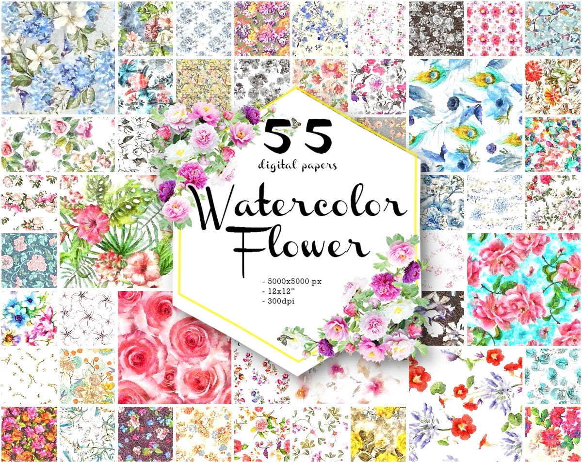 Sale Floral Print Digital Paper Watercolor Commercial Use Etsy