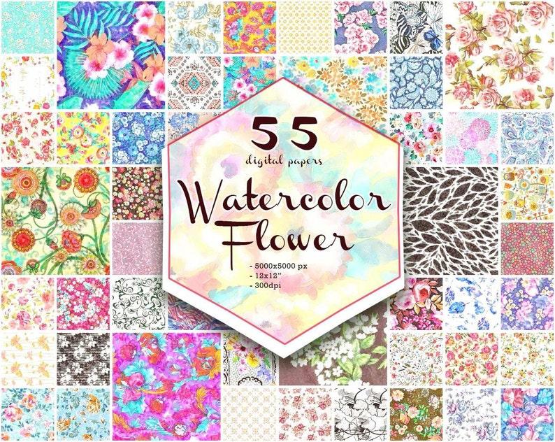 270d227a9530ab Verkauf Floral Print Digital Paper Aquarell Floral Muster   Etsy