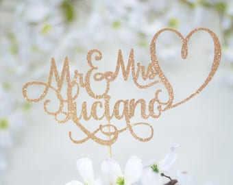 Mr and Mrs Wedding Cake Topper ~ Custom wedding cake topper for wedding ~ gold wedding cake topper - card stock cake topper