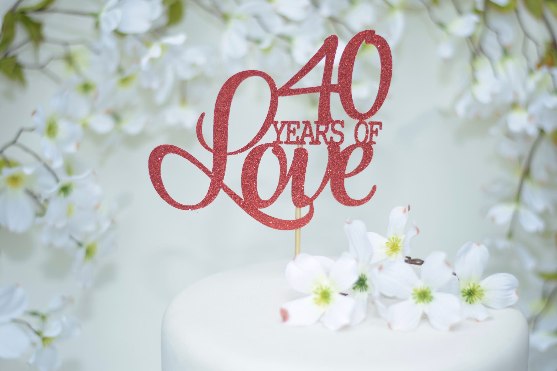 40th Wedding Anniversary Cake Topper Red Cake Topper Ruby Anniversary 15th Anniversary Vow Renewal 25th Anniversary Cake Topper 30th