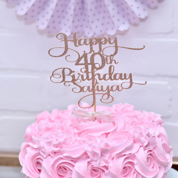 Miraculous Happy 40Th Birthday Cake Topper Personalised Custom Gold Etsy Funny Birthday Cards Online Inifodamsfinfo