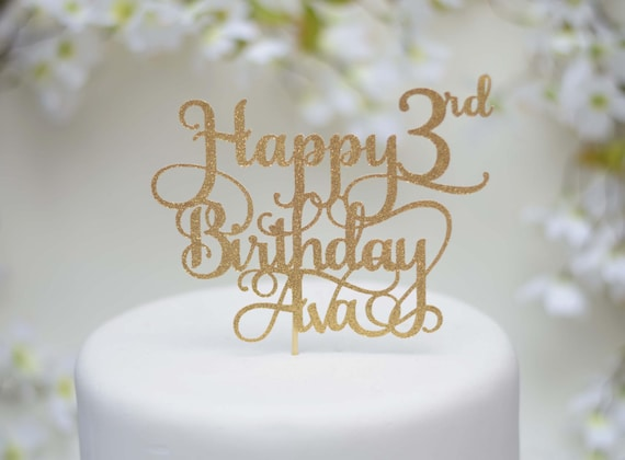 Happy 3rd Birthday Cake Topper Personalized