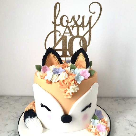 Wondrous 40Th Birthday Cake Topper For Her Woman Foxy At 40 Etsy Funny Birthday Cards Online Sheoxdamsfinfo