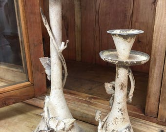 Merveilleux Farmhouse Metal Floral Heavily Antiqued Tabletop Candlestick Candle Holders  With Floral Farmhouse Tabletop Decor