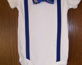 Baby Clothes - Baby Boy Clothes - Baby Bodysuit - Baby Boy Gift - Baby Boy Outfit - Boy Onesie - Mickey Mouse Bow Tie Onesie with Suspenders