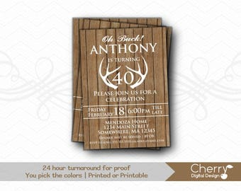 Rustic Wood Antler Birthday Party Invitations