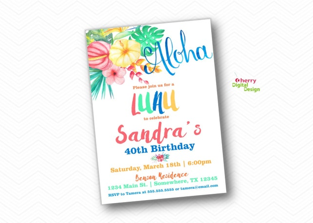 Luau 40th Birthday Invitation For Her