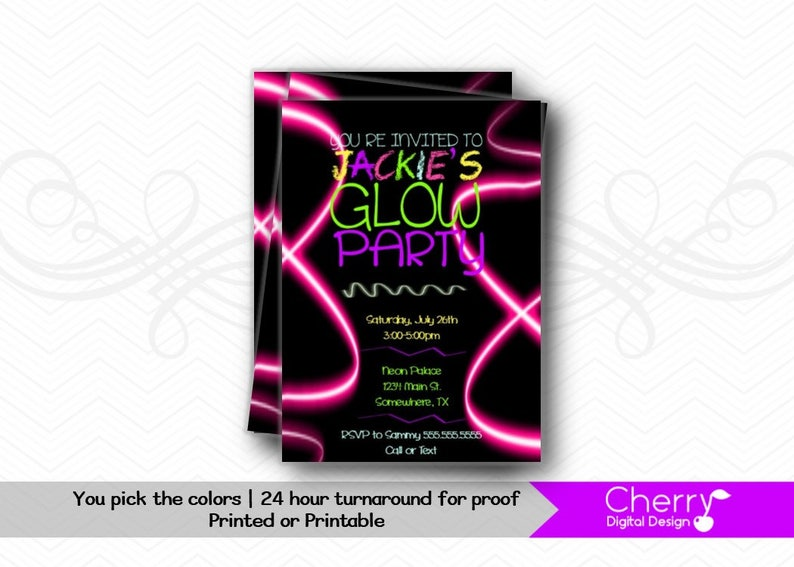 photograph relating to Free Printable Glow Party Invitations named Posted or PRINTABLE Neon Shine Bash Invitation. Shine Birthday Social gathering Invitation. Neon Invite Rave. Printable Invites. PDF.