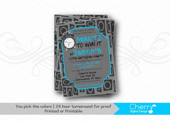 Minute To Win It Birthday Party Invitations Printed Or Etsy