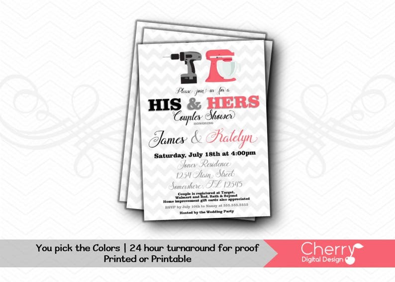 93a0f84da02d His   Hers Couples Shower Invitation Printed or Printable