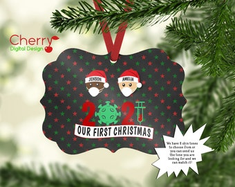 Our First Christmas  |  Vaccine Crew Personalized Family Ornament | 2021 Christmas Tree Ornament | last name