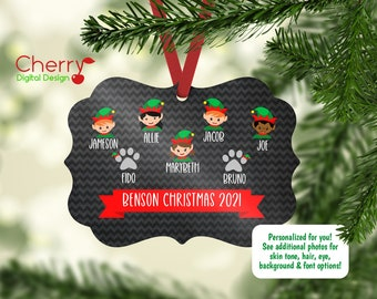 Personalized Elf Family Ornament including pets | 2021 Family Christmas Tree Ornament | Elves