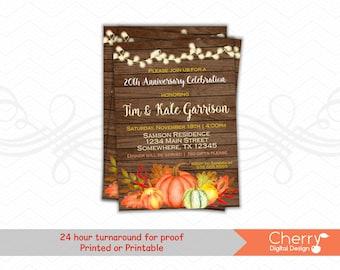 Rustic Pumpkin Fall Autumn Anniversary Party Invitations | PRINTABLE or PRINTED Invitation | Wood Surprise Anniversary Invites