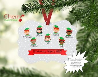 Christmas 2021 Personalized grandma's Helpers Ornament | Elf Family Ornament | Custom Christmas Tree Ornament | Elves