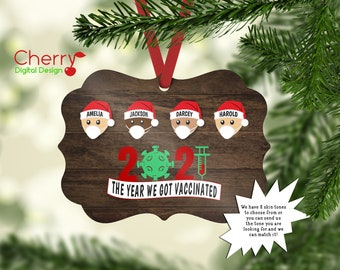 The Year We got Vaccinated Personalized Family Ornament | 2021 Christmas Tree Ornament | last name